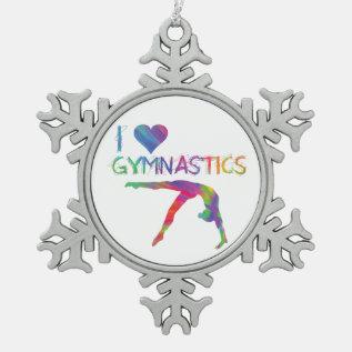 I Love Gymnastics Pewter Snowflake Ornament at Zazzle