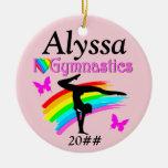 I LOVE GYMNASTICS PINK PERSONALIZED  ORNAMENT