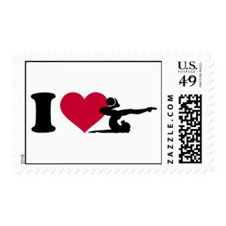 I love Gymnastics Postage Stamp