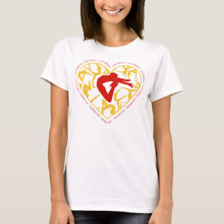 I Love Gymnastics - Red and Gold Heart T-Shirt