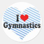 I Love Gymnastics Round Stickers
