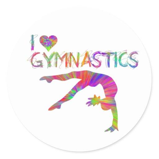 I Love Gymnastics Tie Dye Shirts Bags Stickers etc | Zazzle