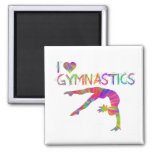 I Love Gymnastics Tie Dye Shirts Bags Stickers etc 2 Inch Square Magnet