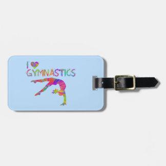 I Love Gymnastics Tie Dye Shirts Bags Stickers etc Luggage Tag