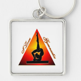 I Love Gymnastics triangle #7 Keychain