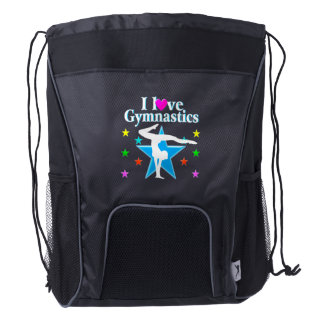 I LOVE GYMNASTS TEES AND GIFTS DRAWSTRING BACKPACK