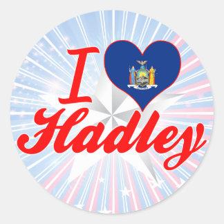 I Love Hadley New York Round Stickers