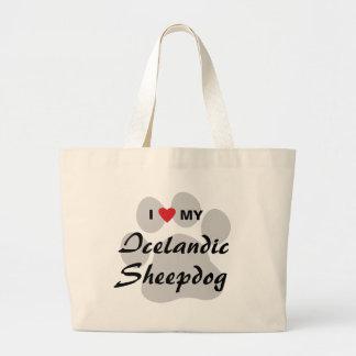 I Love (Haert) My Icelandic Sheepdog Large Tote Bag