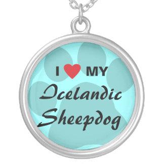 I Love Haert My Icelandic Sheepdog Pendants