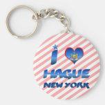 I love Hague, New York Basic Round Button Keychain