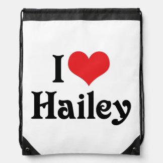 I Love Hailey Drawstring Backpacks