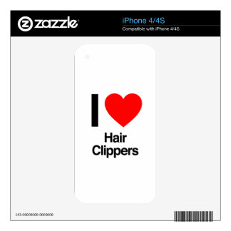 i love hair clippers iPhone 4S decal
