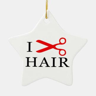 I Love Hair, I Cut Hair, I love Barbers, I Love Ceramic Ornament