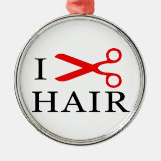 I Love Hair, I Cut Hair, I love Barbers, I Love Metal Ornament