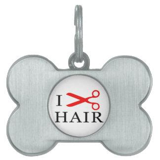 I Love Hair, I Cut Hair, I love Barbers, I Love Pet Name Tag