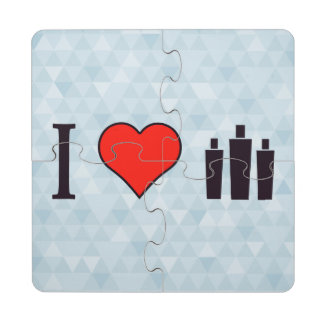 I Love Hair Salons Puzzle Coaster