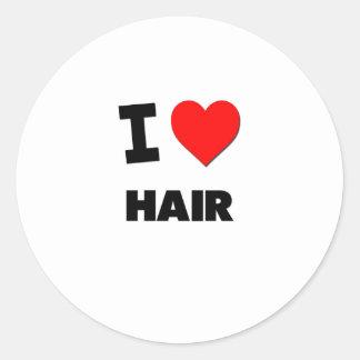 I Love Hair Round Sticker