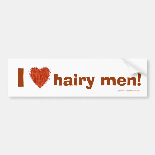 I Love Hairy Men (Hairy Heart) Funny Template Car Bumper Sticker