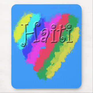I Love Haiti, Children's Pastel Chalk Heart Mouse Pad