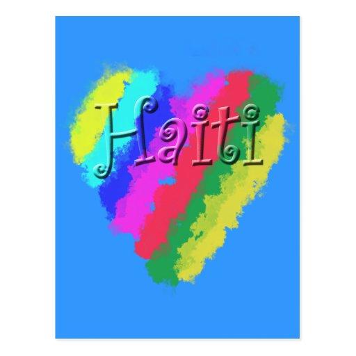 I Love Haiti, Children's Pastel Chalk Heart Postcard