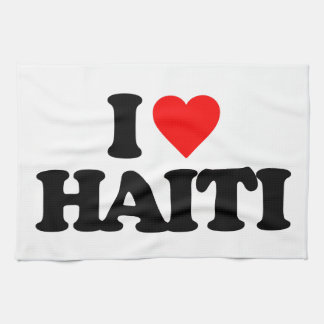 I LOVE HAITI HAND TOWELS