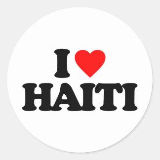 I LOVE HAITI ROUND STICKERS