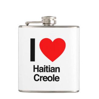 i love haitian creole hip flasks