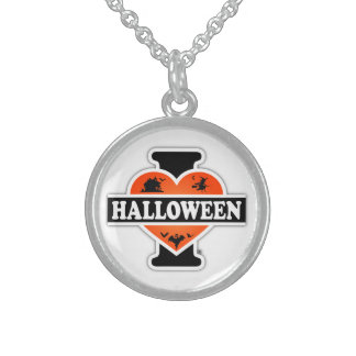 I Love Halloween #2 Sterling Silver Necklace