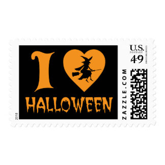 I Love Halloween  I Heart Logo with Scary Witch Postage