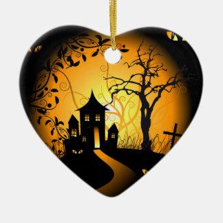 I love Halloween Double-Sided Heart Ceramic Christmas Ornament