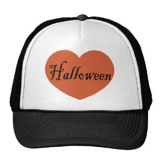 I Love Halloween With Orange Halloween Heart Trucker Hat