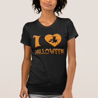I Love Halloween With Scary Witch Flying her Broom Shirts
