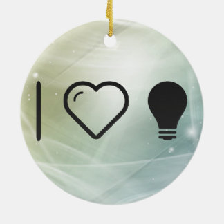 I Love Halogen Lights Double-Sided Ceramic Round Christmas Ornament