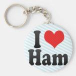 I Love Ham Basic Round Button Keychain