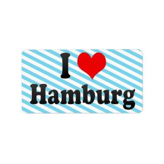 I Love Hamburg, Germany Custom Address Labels
