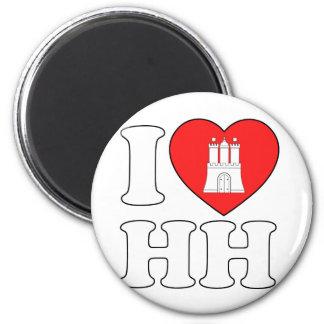 I Love Hamburg (HH) 2 Inch Round Magnet
