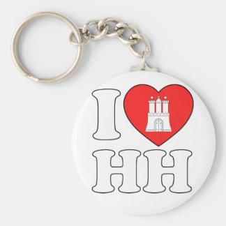 I Love Hamburg (HH) Basic Round Button Keychain