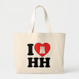 I Love Hamburg (HH) Large Tote Bag