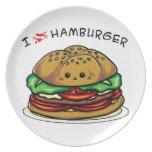 I love hamburger dinner plate