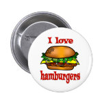 I Love Hamburgers Buttons