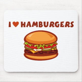 I Love Hamburgers Mouse Pads
