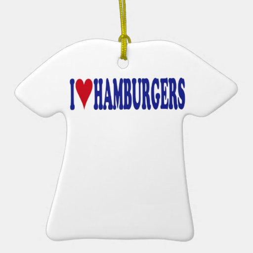 I Love Hamburgers Double-Sided T-Shirt Ceramic Christmas Ornament