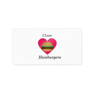 I love hamburgers personalized address label