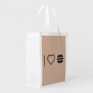 I Love Hamburgers Reusable Grocery Bag