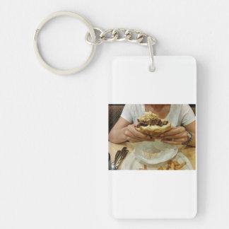I love hamburgers Single-Sided rectangular acrylic keychain