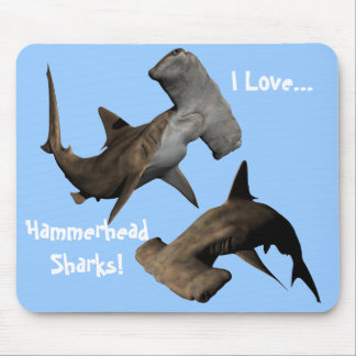I Love...Hammerhead Sharks! ... Mousepad, Animals Mouse Pad