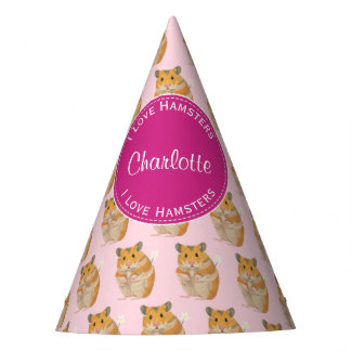 I love Hamsters Pink Hamster Pattern Party Hat