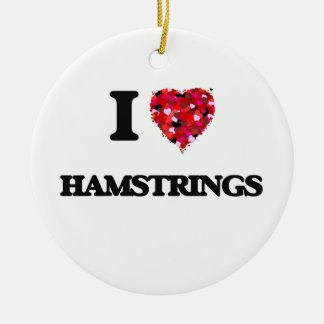 I Love Hamstrings Double-Sided Ceramic Round Christmas Ornament