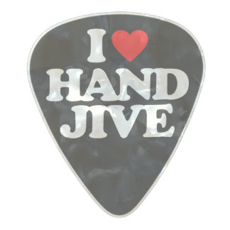 I LOVE HAND JIVE PEARL CELLULOID GUITAR PICK