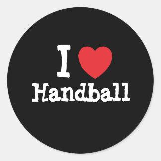 I love Handball heart custom personalized Classic Round Sticker